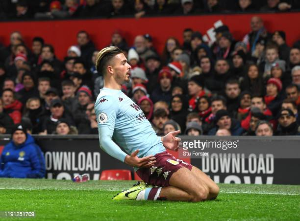 Jack Grealish of Aston Villa celebrates after he scores his sides first goal during the Premier League match between Manchester United and Aston...