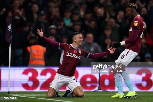 Jack Grealish of Aston Villa celebrates after scoring a goal to make it 10 with Tammy Abraham of Aston Villa during the Sky Bet Championship between...