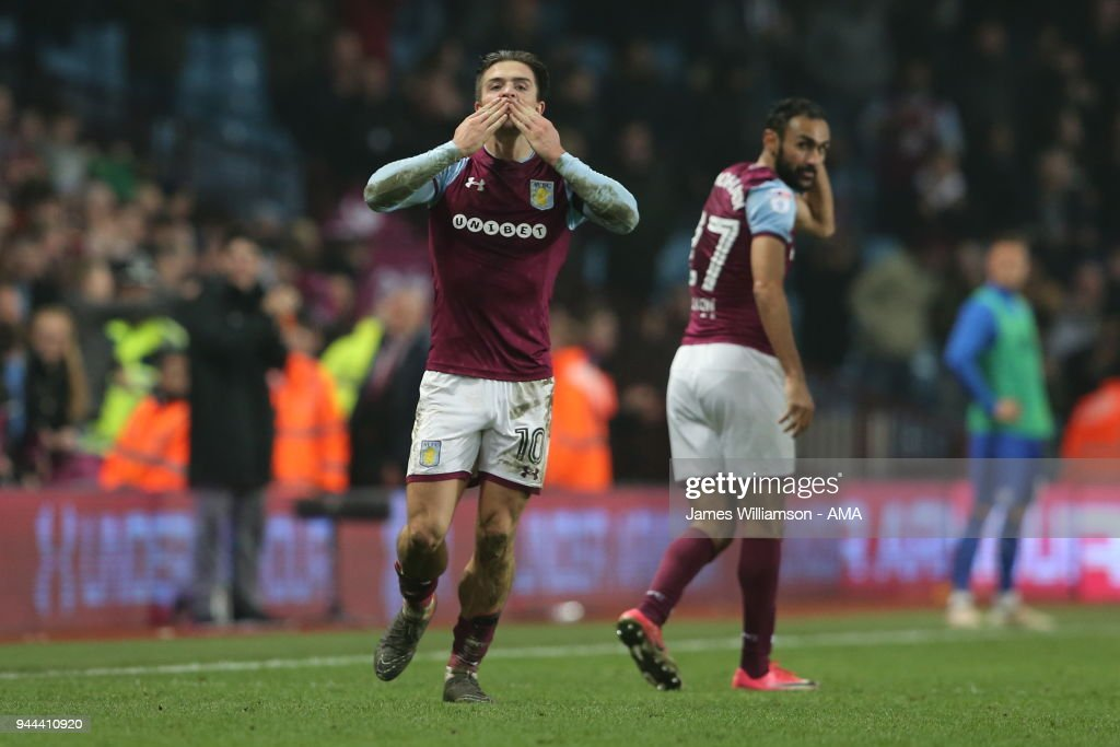Jack Grealish of Aston Villa celebrates after scoring a goal to make it 1-0 during the Sky Bet Championship match between Aston Villa v Cardiff City at Villa Park on April 10, 2018 in Birmingham, England.