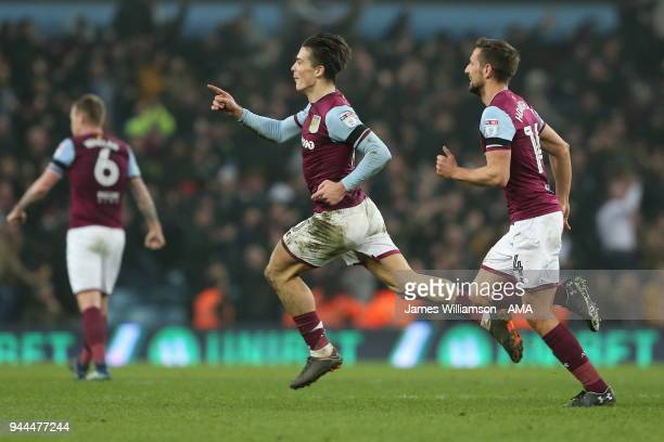 Jack Grealish of Aston Villa celebrates after scoring a goal to make it 10 during the Sky Bet Championship match between Aston Villa v Cardiff City...