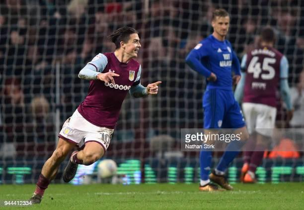 Jack Grealish of Aston Villa celebrates after scoring during the Sky Bet Championship match between Aston Villa and Cardiff City at Villa Park on...