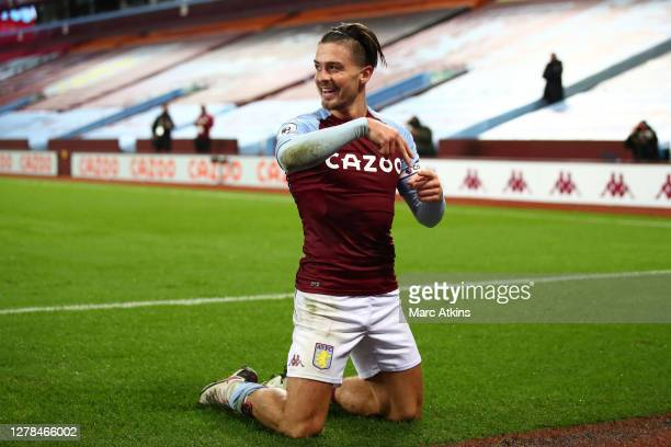 Jack Grealish of Aston Villa celebrates after scoring his team's seventh goal during the Premier League match between Aston Villa and Liverpool at...