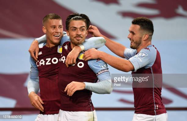 Jack Grealish of Aston Villa celebrates after scoring his team's sixth goal during the Premier League match between Aston Villa and Liverpool at...