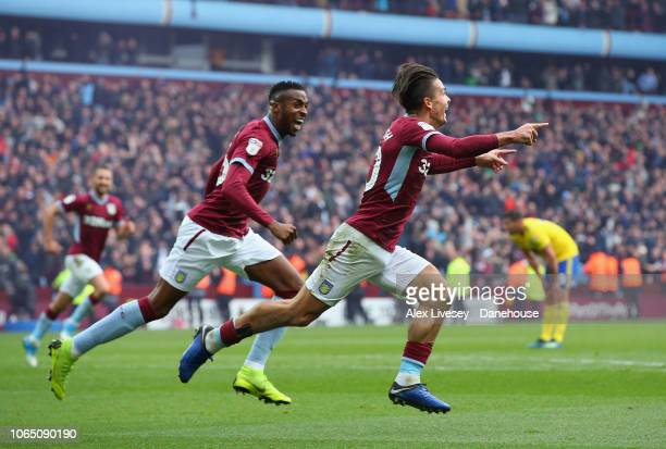 Jack Grealish of Aston Villa celebrates after scoring the second goal during the Sky Bet Championship match between Aston Villa and Birmingham City...