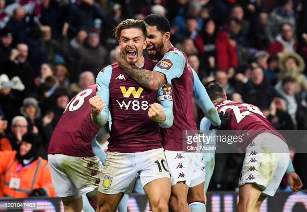 Jack Grealish of Aston Villa celebrates after Tyrone Mings scored their second goal during the Premier League match between Aston Villa and Watford...