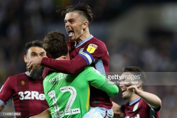 Jack Grealish of Aston Villa celebrates after Villa win the penalty shoot out during the Sky Bet Championship Playoff Semi Final Second Leg match...