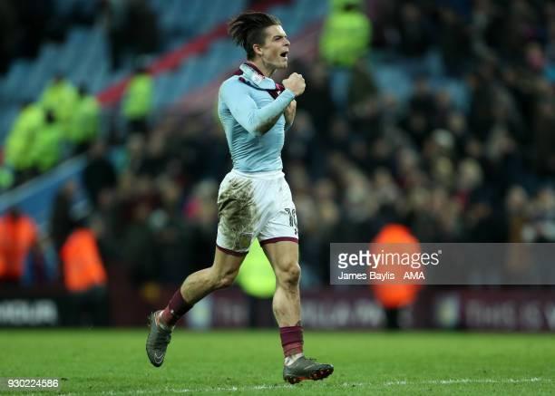 Jack Grealish of Aston Villa celebrates at full time after the Sky Bet Championship match between Aston Villa and Wolverhampton Wanderers at Villa...