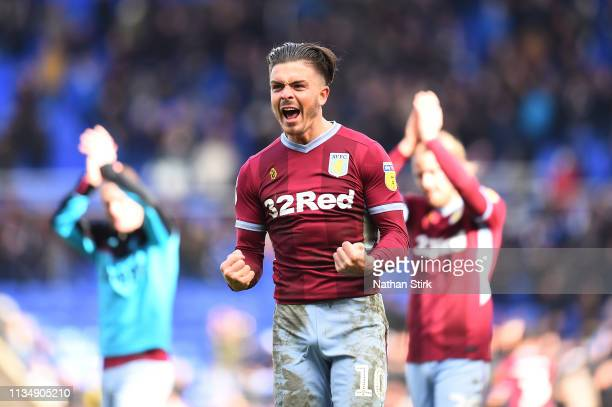 Jack Grealish of Aston Villa celebrates at fulltime during the Sky Bet Championship match between Birmingham City v Aston Villa at St Andrew's...
