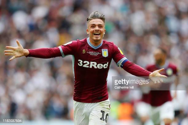 Jack Grealish of Aston Villa celebrates at the full time whistle after his teams victory during the Sky Bet Championship Playoff Final match between...