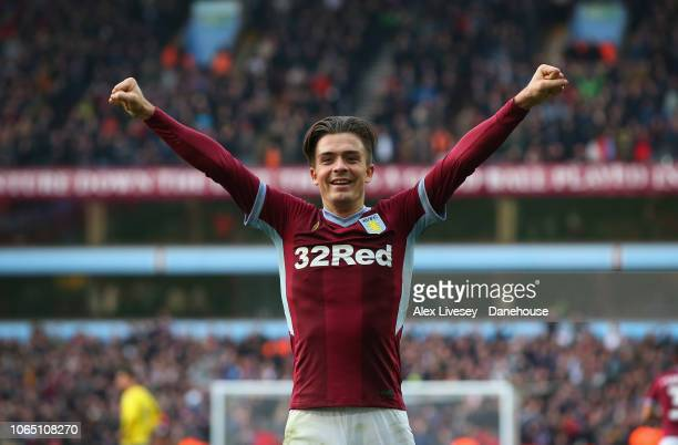 Jack Grealish of Aston Villa celebrates towards his supporters after the fourth goal is scored by Alan Hutton during the Sky Bet Championship match...