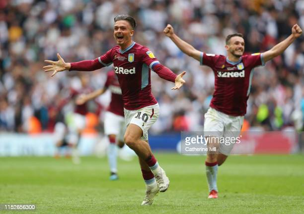 Jack Grealish of Aston Villa celebrates victory after the Sky Bet Championship Playoff Final match between Aston Villa and Derby County at Wembley...
