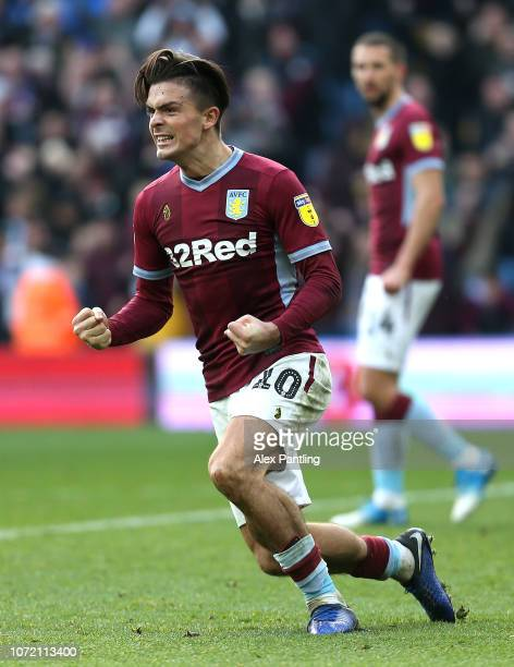 Jack Grealish of Aston Villa celebrates victory during the Sky Bet Championship match between Aston Villa and Birmingham City at Villa Park on...