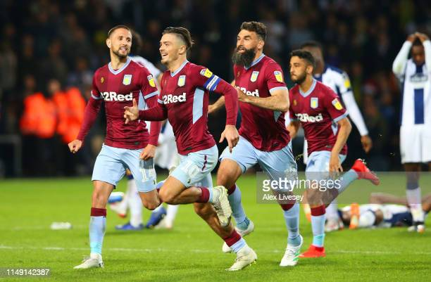 Jack Grealish of Aston Villa celebrates victory in the penalty shoot out with team mates during the Sky Bet Championship Playoff semi final second...