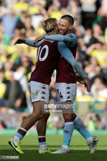 Jack Grealish of Aston Villa celebrates with Conor Hourihane of Aston Villa after Conor Hourihane scores his sides fourth goal during the Premier...