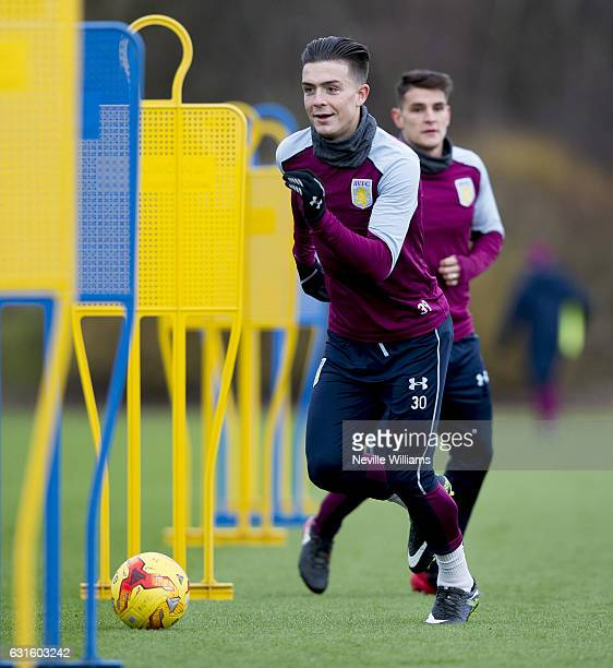 Jack Grealish of Aston Villa during a training session at the club's training ground at Bodymoor Heath on January 13 2017 in Birmingham England