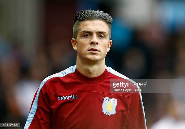 Jack Grealish of Aston Villa during the Barclays Premier League match between Aston Villa and Stoke City at Villa Park on October 03 2015 in...