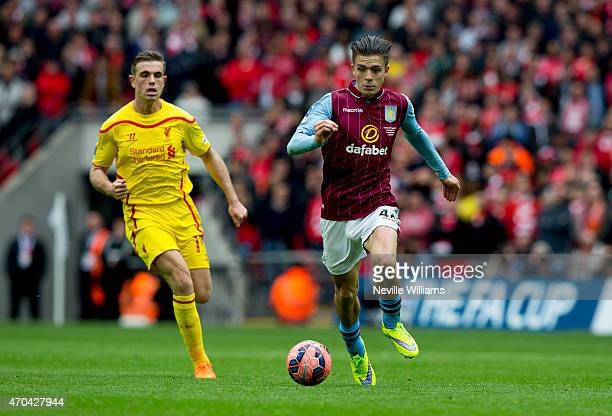 Jack Grealish of Aston Villa during the FA Cup SemiFinal match between Aston Villa and Liverpool at Wembley Stadium on April 19 2015 in London England