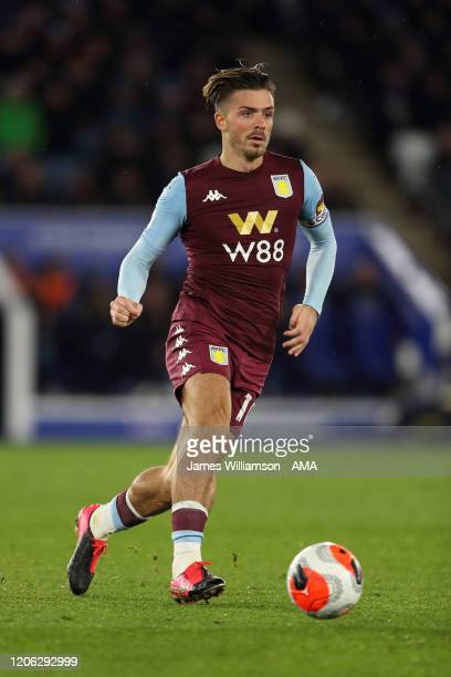 Jack Grealish of Aston Villa during the Premier League match between Leicester City and Aston Villa at The King Power Stadium on March 9 2020 in...