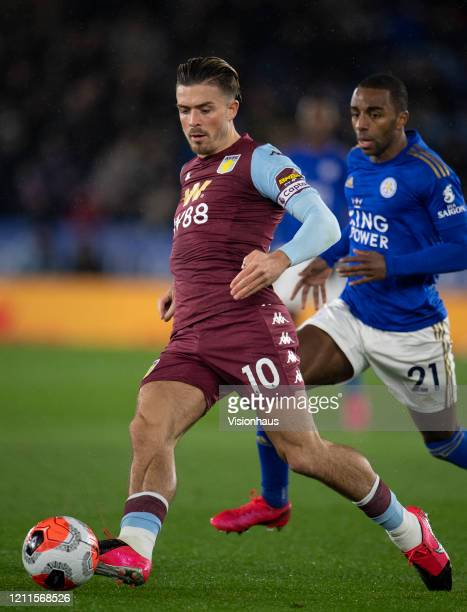 Jack Grealish of Aston Villa during the Premier League match between Leicester City and Aston Villa at The King Power Stadium on March 09 2020 in...