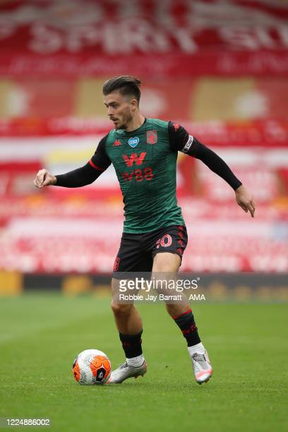Jack Grealish of Aston Villa during the Premier League match between Liverpool FC and Aston Villa at Anfield on July 5 2020 in Liverpool United...