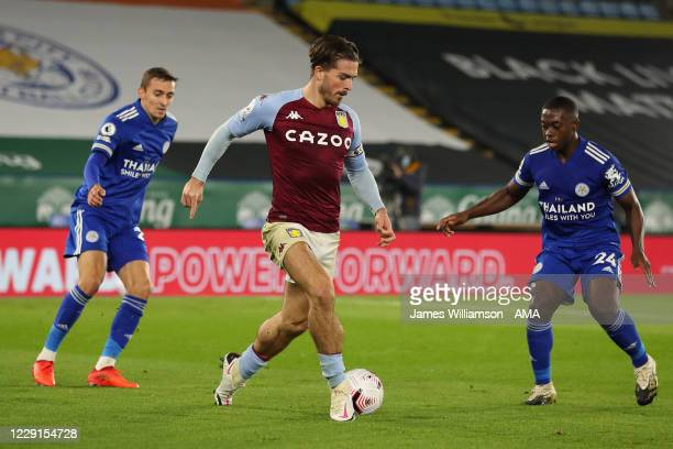 Jack Grealish of Aston Villa during the Premier League match between Leicester City and Aston Villa at The King Power Stadium on October 18 2020 in...