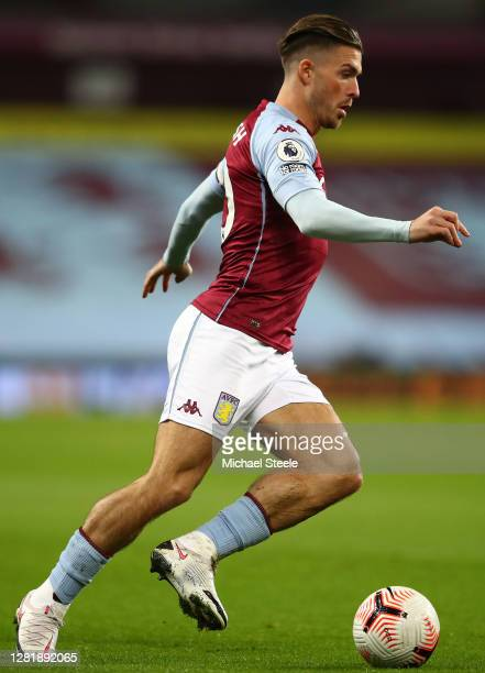 Jack Grealish of Aston Villa during the Premier League match between Aston Villa and Leeds United at Villa Park on October 23 2020 in Birmingham...