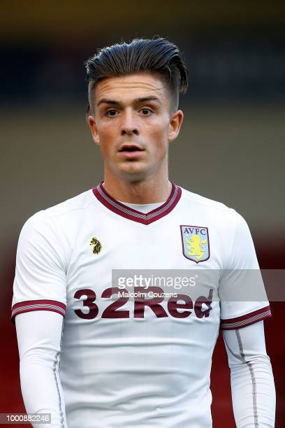Jack Grealish of Aston Villa during the preseason friendly between Walsall and Aston Villa at the Banks' Stadium on July 17 2018 in Walsall England