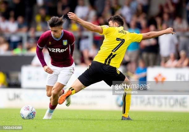 Jack Grealish of Aston Villa during the PreSeason Friendly match between Burton Albion and Aston Villa at the Pirelli Stadium on July 21 2018 in...