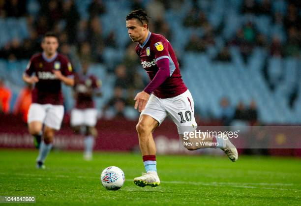 Jack Grealish of Aston Villa during the Sky Bet Championship match between Aston Villa and Preston North End at Villa Park on October 02 2018 in...