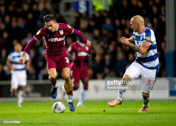 Jack Grealish of Aston Villa during the Sky Bet Championship match between Queens Park Rangers and Aston Villa at Loftus Road on October 26 2018 in...