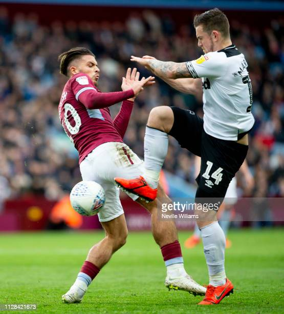 Jack Grealish of Aston Villa during the Sky Bet Championship match between Aston Villa and Derby County at Villa Park on March 02 2019 in Birmingham...