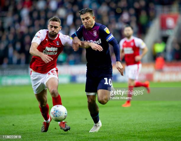 Jack Grealish of Aston Villa during the Sky Bet Championship match between Rotherham United and Aston Villa at the New York Stadium on April 10, 2019...