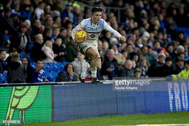 Jack Grealish of Aston Villa during the Sky Bet Championship match between Cardiff City and Aston Villa at the Cardiff City Stadium on January 02,...