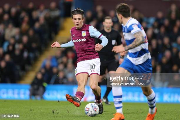 Jack Grealish of Aston Villa during the Sky Bet Championship match between Aston Villa and Queens Park Rangers at Villa Park on March 13 2018 in...