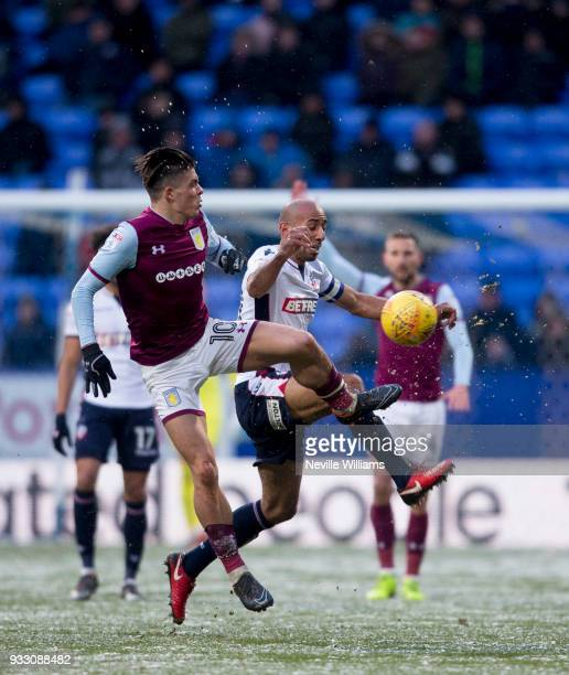 Jack Grealish of Aston Villa during the Sky Bet Championship match between Bolton Wanderers and Aston Villa at the Macron Stadium on March 17 2018 in...