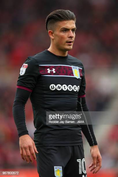 Jack Grealish of Aston Villa during the Sky Bet Championship Play Off Semi Final First Leg match between Middlesbrough and Aston Villa at Riverside...
