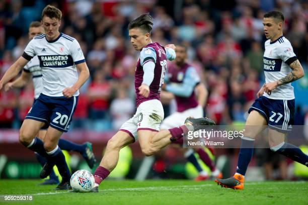 Jack Grealish of Aston Villa during the Sky Bet Championship Play Off Semi Final Second Leg match between Aston Villa and Middlesbrough at Villa Park...