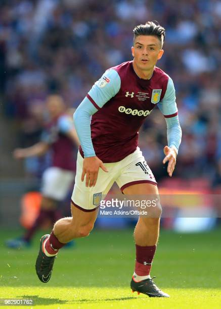 Jack Grealish of Aston Villa during the Sky Bet Championship Play Off Final between Aston Villa and Fulham at Wembley Stadium on May 26 2018 in...