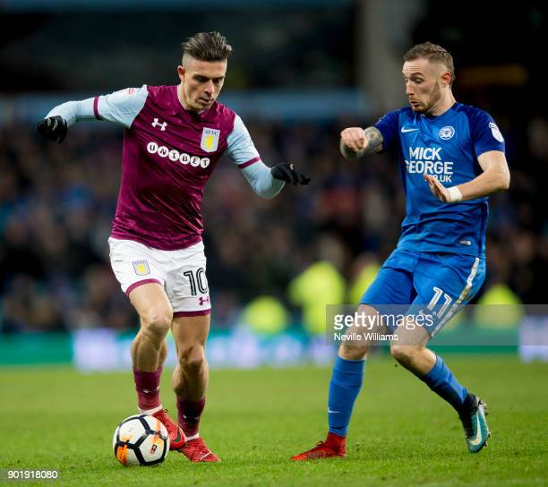 Jack Grealish of Aston Villa during the The Emirates FA Cup Third Round match between Aston Villa and Peterborough United at Villa Park on January 06...