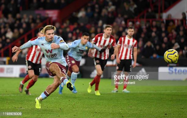 Jack Grealish of Aston Villa fails to score from the penalty spot during the Premier League match between Sheffield United and Aston Villa at Bramall...