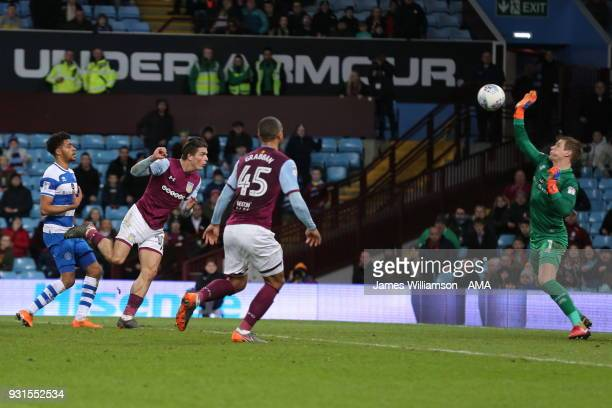 Jack Grealish of Aston Villa has a header saved by Alex Smithies of Queens Park Rangers during the Sky Bet Championship match between Aston Villa and...