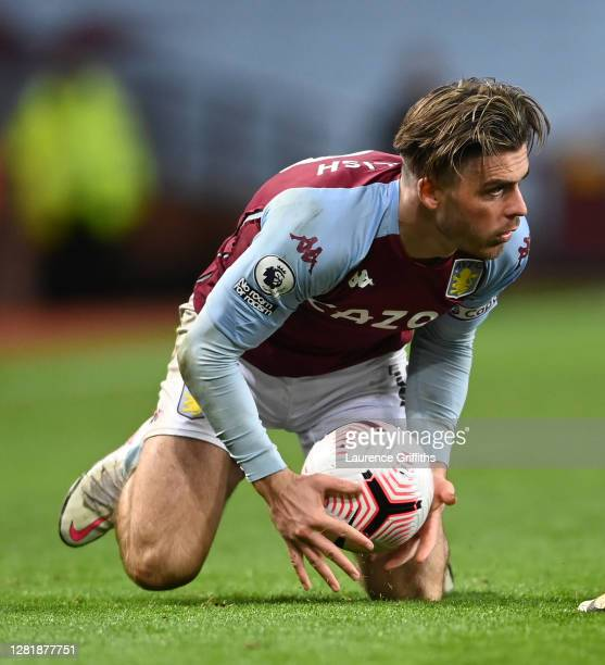 Jack Grealish of Aston Villa holds the Nike Premier League Flight match ball during the Premier League match between Aston Villa and Leeds United at...