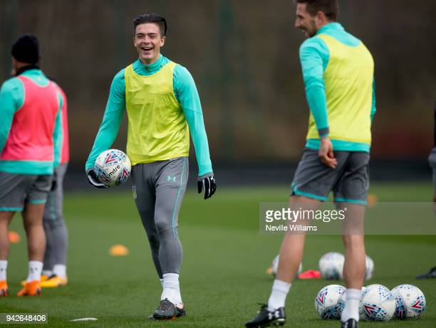 Jack Grealish of Aston Villa in action during a a training session at the club's training ground at Bodymoor Heath on April 06 2018 in Birmingham...