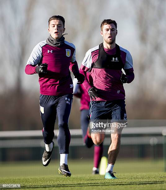 Jack Grealish of Aston Villa in action during a Aston Villa training session at the club's training ground at Bodymoor Heath on January 06 2017 in...