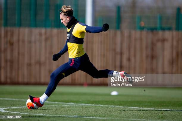 Jack Grealish of Aston Villa in action during a training session at Bodymoor Heath training ground on March 06 2020 in Birmingham England
