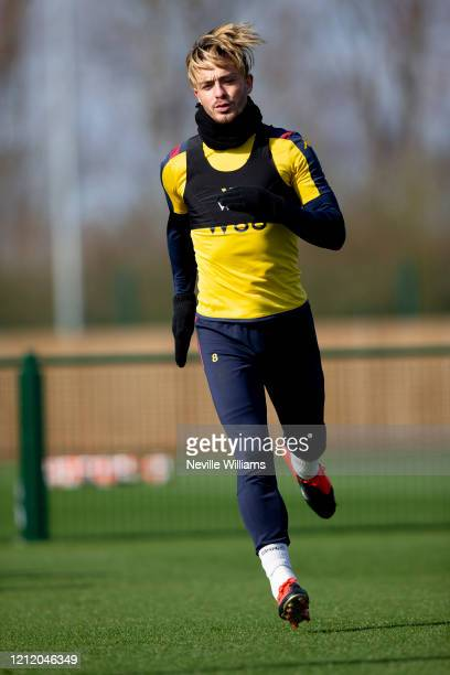 Jack Grealish of Aston Villa in action during a training session at Bodymoor Heath training ground on March 12 2020 in Birmingham England