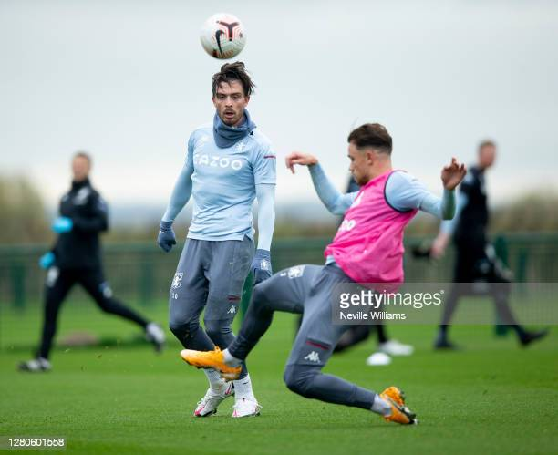 Jack Grealish of Aston Villa in action during a training session at Bodymoor Heath training ground on October 16 2020 in Birmingham England