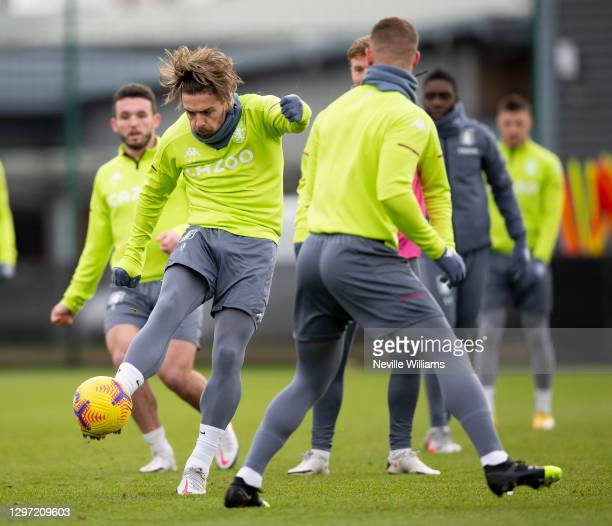 Jack Grealish of Aston Villa in action during a training session at Bodymoor Heath training ground on January 18, 2021 in Birmingham, England.