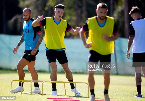 Jack Grealish of Aston Villa in action during an Aston Villa training session at the club's training camp on July 08 2018 in Faro Portugal