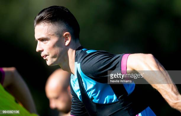 Jack Grealish of Aston Villa in action during an Aston Villa training session at the club's training camp on July 09 2018 in Faro Portugal